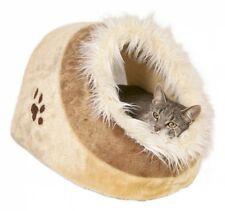 NEW Cat Kitten Plush Cushy Cave Bed Beige For Cats Dogs
