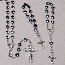 Set of 3 (THREE): ROSARY, BRACELET & Small ROSARY for your Car - Hematite - New