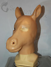 LATEX RUBBER FLESH GUM FETISH HORSE FULL HEAD HOOD STALLION PONY MAN MEN MASK