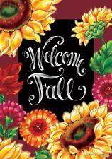 """Welcome Autumn Fall Sunflowers Garden Flag 18"""" x 12"""""""