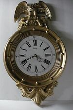 Vintage Home Interiors Gold Eagle Porthole Clock - New Clock Works - Repainted