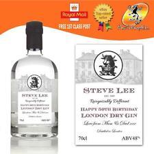 Personalizado London Dry Gin Botella Etiqueta Cumpleaños todas las ocasiones De Regalo