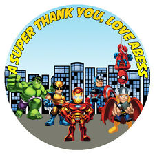 Personalised Super Heroes Squad Round Stickers Thank You Seal Tags Kids Labels