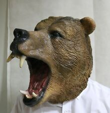 Wild Brown Bear Mask Full head Animal Fancy Dress Halloween Grizzly Bear Zoo
