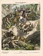1880 LEUTEMANN BILDERBOGEN HC WOOD ENGRAVING Carthaginians, Lion Hunting