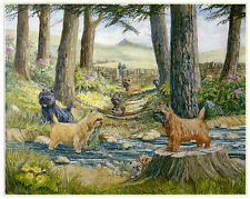 """CAIRN TERRIER DOG FINE ART LIMITED EDITION PRINT - """"Tails by the River Bank"""""""