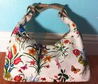 Gucci Horsebit Flora Large Hobo Shoulder Bag White Canvas And Leather 100% Auth