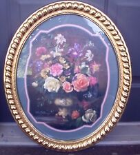Home Interior & Gifts Gold Syroco Round  Framed  Vase with Flower Scene Picture