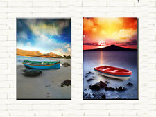 COLOURFUL BOATS MODERN ABSTRACT CANVAS PRINTS LARGE 60x90 SET OF 2 WALL ART