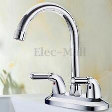 Copper Faucet Double Handle Single Hole Bathroom Sink Washbasin Water Mixe Tap