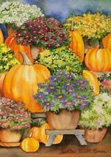 "Pumpkin & Mums Fall Garden Flag Seasonal Yard Banner Toland 12.5"" x 18"""