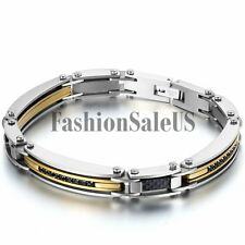 Mens Silver Gold Black Tone Stainless Steel CZ Inlay Carbon Fiber Bracelet Chain