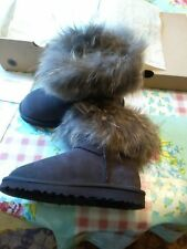 Genuine Ugg Chocolate coloured Baily Bow Mini 5854-3 Fox Fur Boots very rare