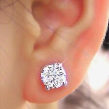 2.00 Ct Solitaire Diamond Earrings Studs Solid 14K White Gold Lab Created
