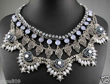 2015 New handmade Lady Statement silver crystal multi chunky charm necklace