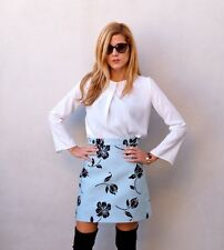 ZARA SKY BLUE JACQUARD A-LINE SKIRT WITH FLOWERS