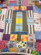 Vintage Retro Patchwork Granny Blanket Hippy Chic Throw 70x85 Inc VGC Hand Made