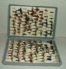 """GREY PLASTIC """"FOX BOX"""" FLY BOX with 125+ TROUT FLIES/LURES for FLY FISHING"""