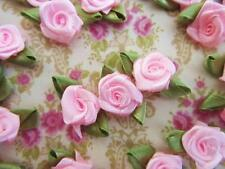"70 Satin Ribbon Rose 1"" Flower Leaves/trim/craft/sewing/dress/Baby/Bow F28-Pink"