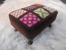 Vintage Footstool Unusual Padded Wood Feet Foot Stool Wooden Unique