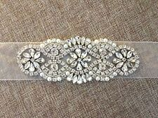 Crystal Pearl Wedding Bridal Dress Applique = DIY! = 5 INCH LONG