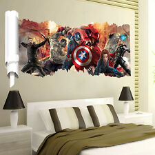 3D Avengers Marvel Thor Iron Man Hulk Vinyl Wall Sticker Decal Living Room Decor