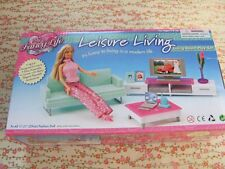 Barbie Size Dollhouse Furniture green family room with tv and sofa NEW