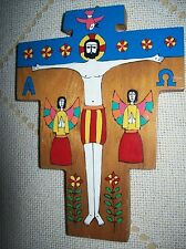 Vtg Religious Hand Painted Wood Crucifix w/Angels/ Alpha Omega