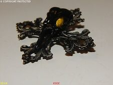 NEW steampunk brooch badge pin gothic cross black bird skull plague mask