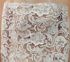 "Stunning Ivory Guipure Embroidery Lace Fabric 47"" Wide for Bridal Dress 1/2 Yard"