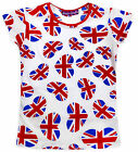 Girls Union Jack Heart Print T-Shirt New Kids Short Sleeved Tops Ages 2-10 Years