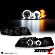 1999-2004 Ford Mustang V8 V6 GT 5.0 [DARKEST SMOKE] Halo Projector Headlights