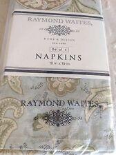 RAYMOND WAITES NAPKINS SET (4) BLUE KHAKI BROWN GREEN 100% COTTON NWT