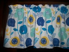 Royal Blue Teal Turquoise Flowers retro mid-century fabric curtain Valance