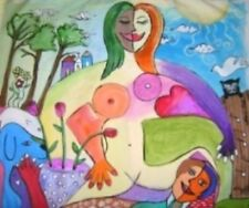 "54"" Modern Art Contemporary Picasso Style Painting BLESSED INNER LOVE"