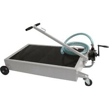 Industrial Oil Drain Dolly with Rotary Pump - 15 Gallon - 8 Ft Hose - Portable