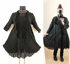 BLACK FLOATY CRINKLE TUNIC DRESS Scarf Plus Size 16 18 20 Gypsy Gothic Lagenlook