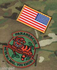 AFSOC EXPEDITION WING PJ PARARESCUE SSI: Cheshire Cat We're All Mad + R⭐US Flag