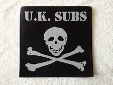 LARGE SEW (NOT IRON) ON BACK PUNK ROCK MUSIC PATCH:- U.K. SUBS JOLLY ROGER
