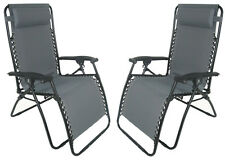 2 x ZERO GRAVITY GREY TEXTILENE DELUXE FOLDING RECLINER CHAIRS reclining sun BH