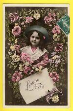 cpa de 1909 Fillette Fleur BONNE FÊTE à Francine BOIRON, St Maurice sur Dargoire