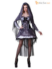 Ladies Corpse Bride Costume Zombie Ghost Halloween Fancy Dress Womens 10 12 14