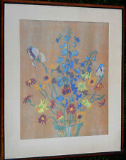 "Original ""Larkspur"" by Meta Cohen Hendel Woodcut on Rice Paper Signed Framed art"