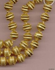 24KT 24k GOLD PLATE MERCURY HOLLOW Ribbed Indented GARLAND GLASS BEADS 13mm Lot