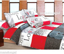 RED , WHITE & GREY-  LOVE BEDDING !!! ROSES !!  SINGLE  DOONA / QUILT COVER SET