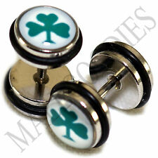 0156 Fake Cheater Faux Illusion Plugs 16G Look 0G 8mm Cloverleaf Clover Leaf