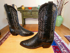 Vtg DAN POST Tall Sexy Blk Leather & Exotic Lizard Skin Western Cowboy Boots 9EW