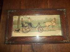 Antique 19th C CECIL ALDIN CHROMOLITHO PRINTED SIGNATURE Print W/Org Oak Frame