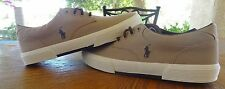 New Polo Sport Ralph Lauren Canvas Khaki Casual Sneaker Boat Shoe Felton Sz 8.5