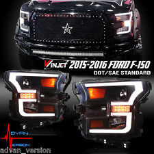 WINJET 2015-2016 Ford F150 Projector Headlights DRL LED Bar BLACK***AVAILABLE***